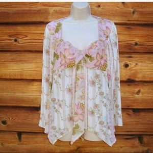 Worth Floral Cream Pink Chiffon Blouse